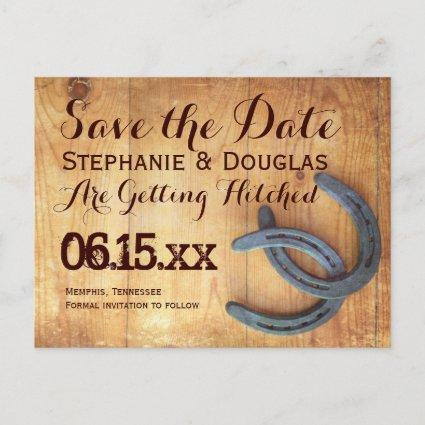 Double Horseshoe Rustic Save the Date Cards