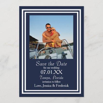 Double Navy Nautical - Save the Date
