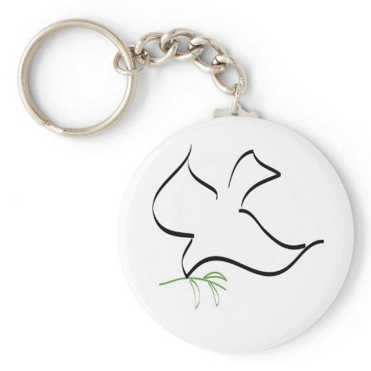 Dove and Olive Branch Image Basic Round Button Keychain