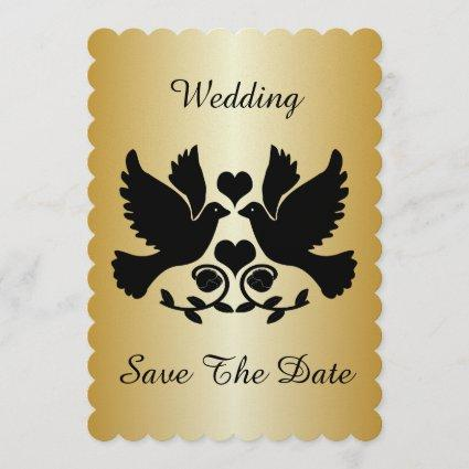 Dove Black And Gold Wedding Save The Date
