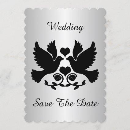 Dove Black And Silver Wedding Save The Date