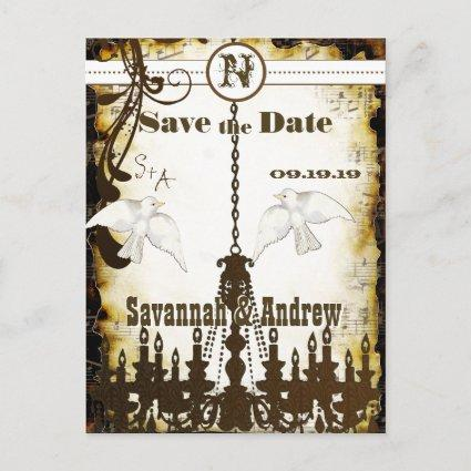 Dove Country Chic Rustic Chandelier Save the Date Announcements Cards