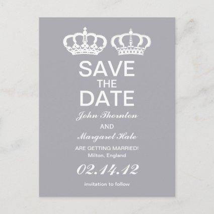 Dove Gray Royal Couple Save the Date Announcements Cards
