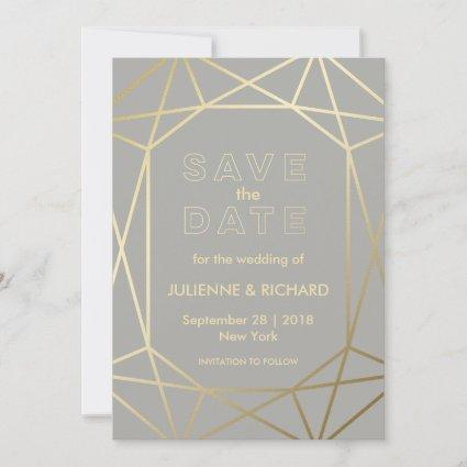 Dove Grey & Gold Geometric Wedding Save the Date