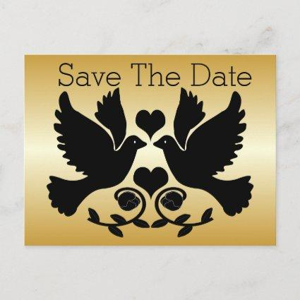 Doves Black And Gold Wedding Save The Date Announcement