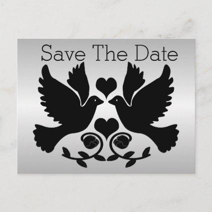 Doves Black And Silver Wedding Save The Date Announcement