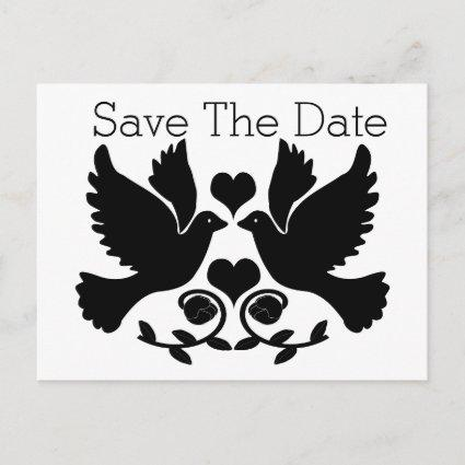 Doves Black And White Wedding Save The Date Announcement
