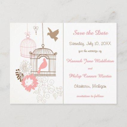 Doves & Cages - Save the Date Post Cards