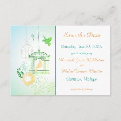 Doves & Cages Teal - 3x5 Save the Date