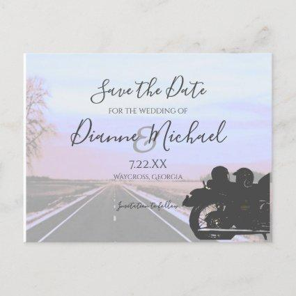 Dreams of the Open Road Motorcycle Wedding Announcement