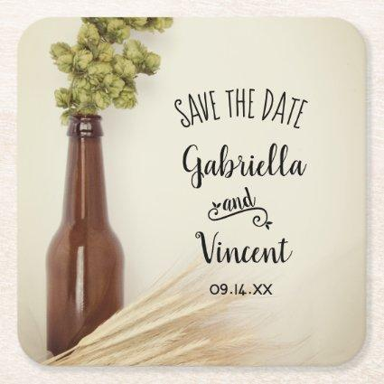 Dried Hops and Wheat Brewery Wedding Save the Date Square Paper Coaster
