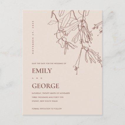 DUSKY BLUSH LINE DRAWING FLORAL SAVE THE DATE ANNOUNCEMENT