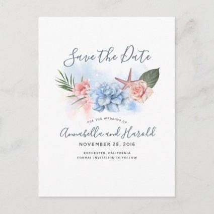 Dusty Blue and Blush Beach Save the Date Announcement