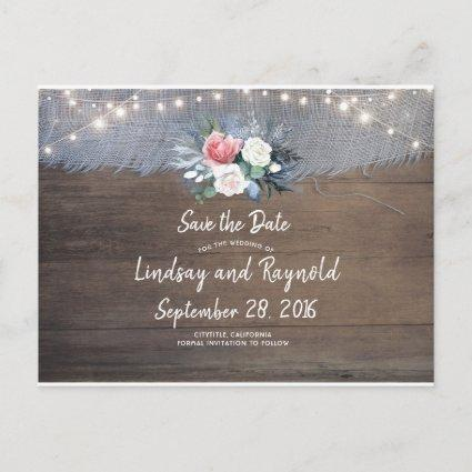 Dusty Blue and Blush Rustic Country Save the Date Announcement