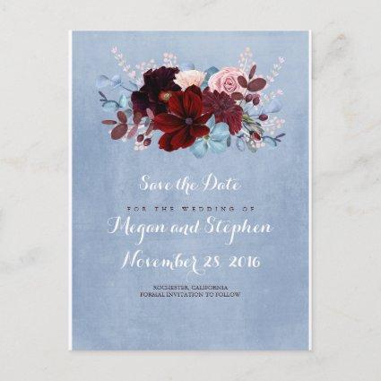 Dusty Blue and Burgundy Save the Date Announcements Cards