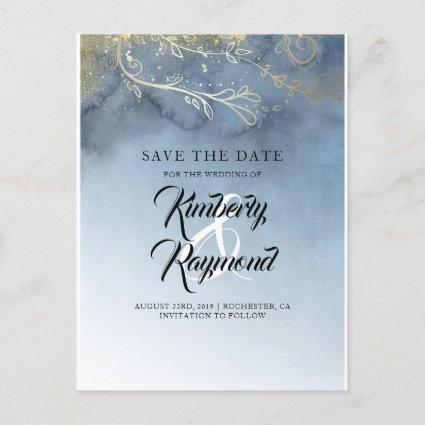 Dusty Blue and Gold Save the Date Announcements Cards