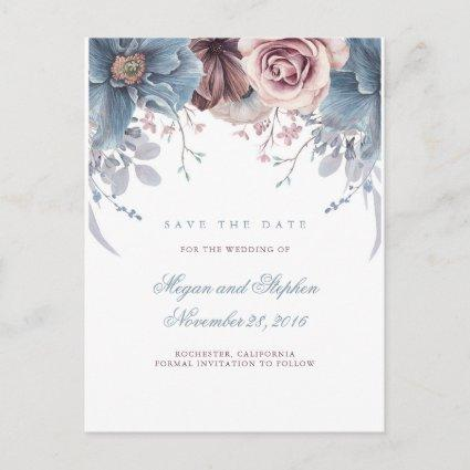 Dusty Blue and Mauve Floral Save the Date Announcements Cards