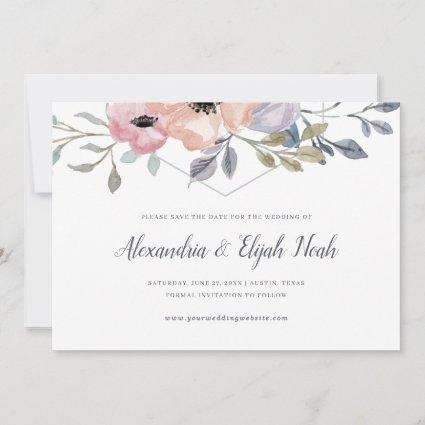 Dusty Blue and Rose Geometric Floral | Wedding Save The Date