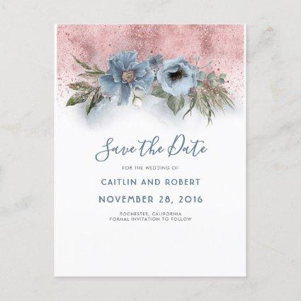 Dusty Blue and Rose Gold Floral Save the Date Announcement