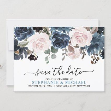 Dusty Blue Blush Pink Floral Botanical Wedding Save The Date
