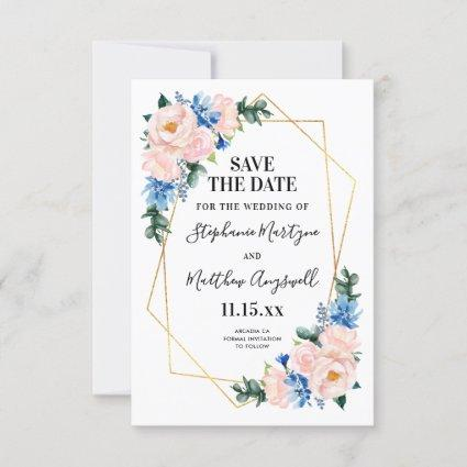 Dusty Blue Blush Pink Geometric Floral Wedding Save The Date