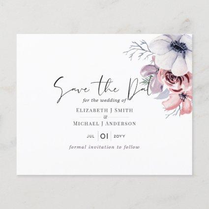 Dusty Blue Coral Floral Wedding Save Date Budget