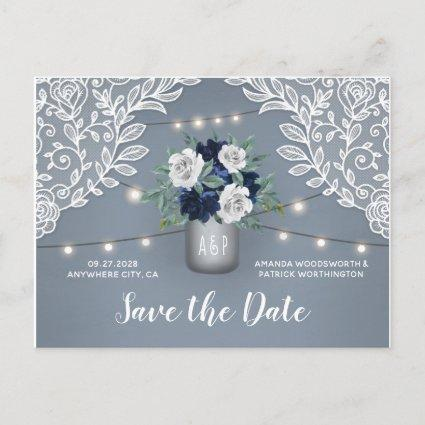 Dusty Blue Country Lace Mason Jar Save the Date Announcement
