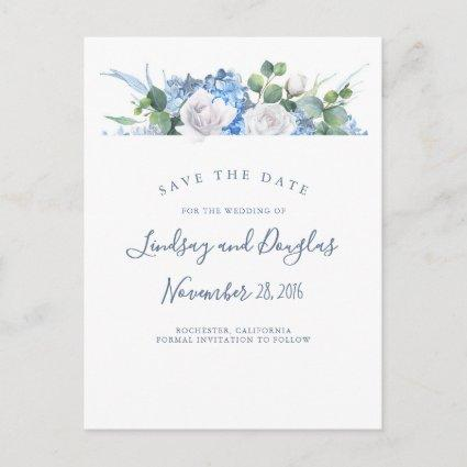 Dusty Blue Floral Greenery Hydrangea Save the Date Announcement