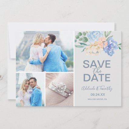 Dusty Blue Florals | Gray 3 Photo Collage Save The Date