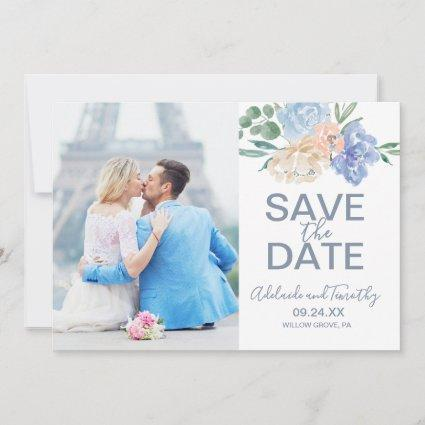Dusty Blue Florals Photo Save the Date Card