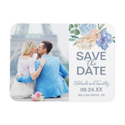 Dusty Blue Florals Photo Save the Date Magnet