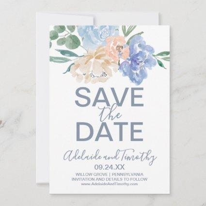 Dusty Blue Florals Save the Date Card