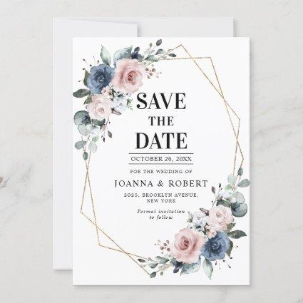 Dusty Blue Mauve Eucalyptus Geometric Wedding Save The Date
