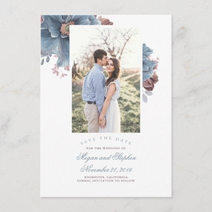 Dusty Blue & Mauve Floral Photo Save the Date Card