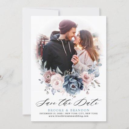Dusty Blue Mauve Rose Pink Floral Save the Date