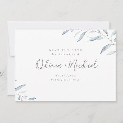 Dusty blue minimal greenery save the date