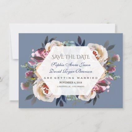 Dusty Blue Misty Rose Floral Save The Date