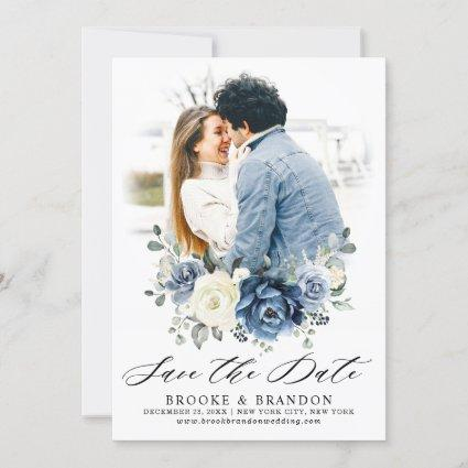 Dusty Blue Navy Champagne Ivory Floral Save The Date