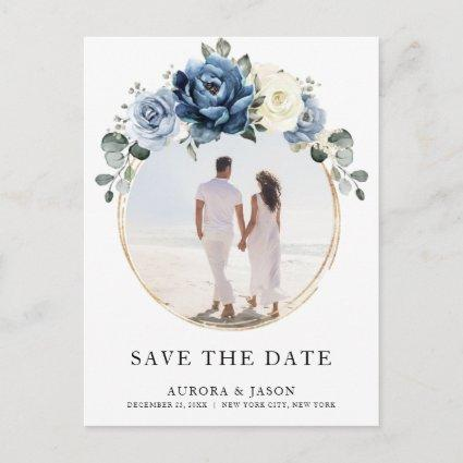 Dusty Blue Navy Champagne Ivory Save the Date Announcement