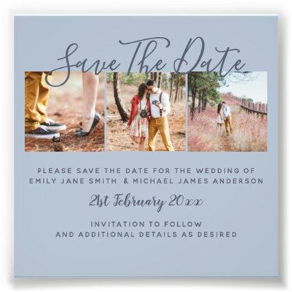 Dusty Blue PHOTO Collage Save The Dates Wedding