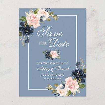 Dusty Blue Pink Blush Floral Save the Date Announcement