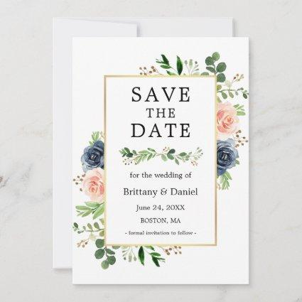 Dusty Blue Pink Floral Save The Date Card