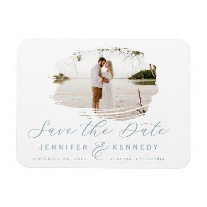 Dusty Blue Romantic Brushed Frame Save The Date Magnet