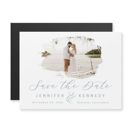 Dusty Blue Romantic Brushed Frame Save The Date Magnetic Invitation