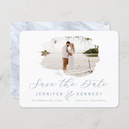 Dusty Blue Romantic Brushed Frame with Photo Save The Date