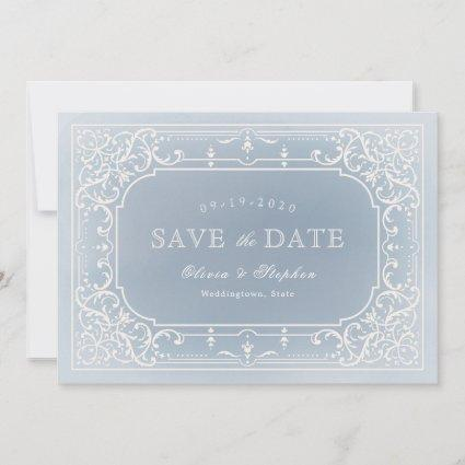 Dusty blue romantic vintage wedding save the date