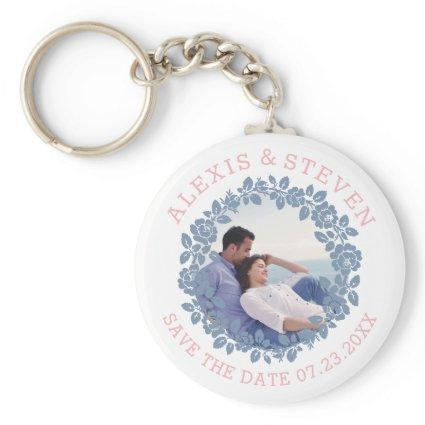 Dusty blue roses floral Save the Date photo Keychain