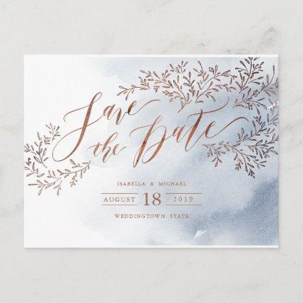 Dusty blue rustic floral calligraphy save the date announcement