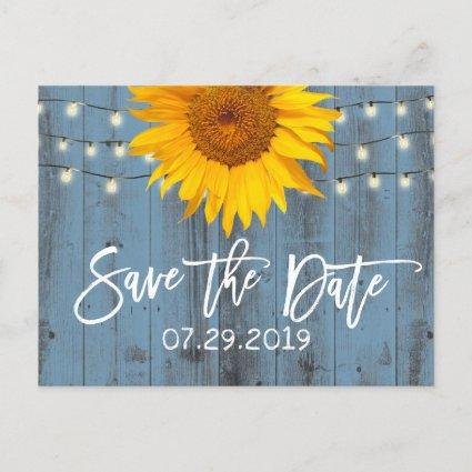 Dusty Blue Rustic Sunflower Wedding Save the Date Announcement