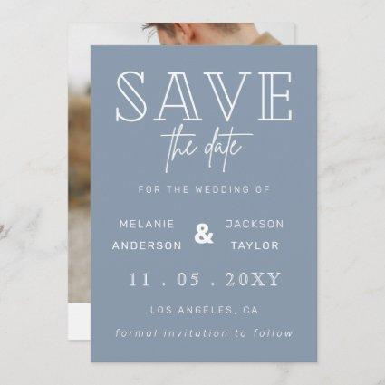 Dusty Blue Simple Calligraphy Photo Save The Date